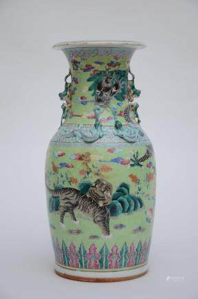 A famille rose vase in Chinese porcelain 'tiger' (47cm)