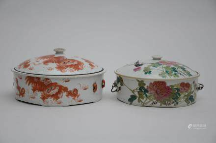 Two terrines in Chinese porcelain  (25x13cm)