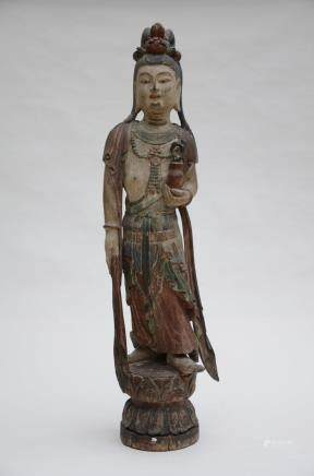 A Chinese wooden sculpture of a Guanyin (112cm)