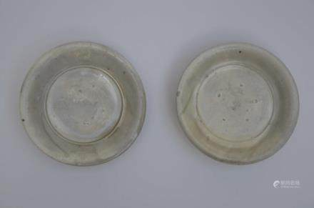 A pair of Chinese white glazed saucers, Song dynasty (12cm)