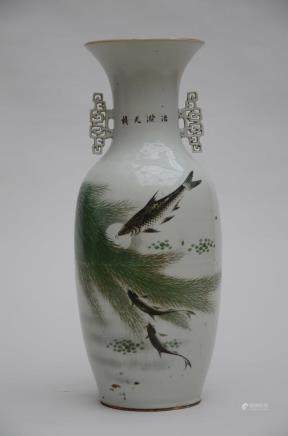 A vase in Chinese porcelain  'fish' (58cm)