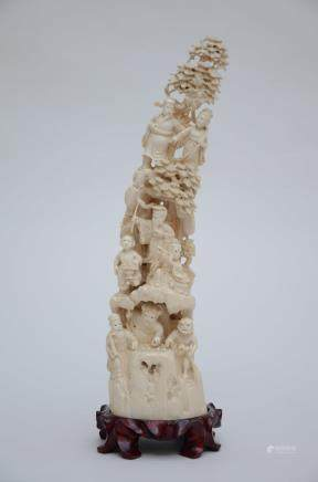 A Chinese ivory sculpture 'eight immortals' (42cm)