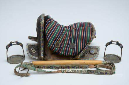 A saddle and fittings decorated with cloisonnŽ, China or Mongolia (35x50x29cm)