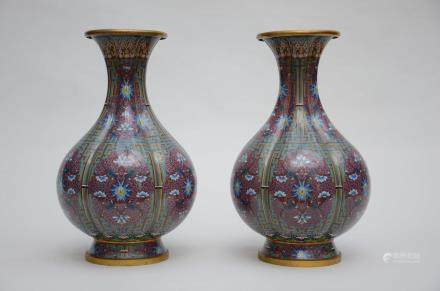 A pair of lobed Chinese cloisonnŽ vases 'flowers' (53cm)
