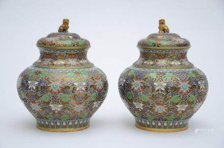 A pair of Chinese cloisonnŽ lidded vases 'lotus scroll'