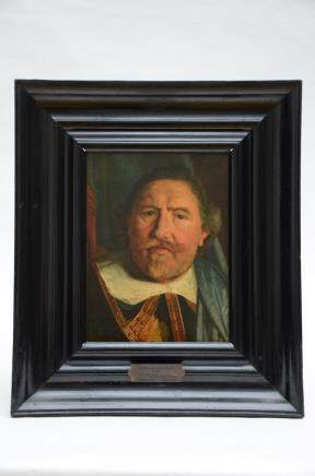 Two paintings: anonymous (o/p) 'nobleman' + anonymous (o/p) 'Town feast' * (42x31cm)