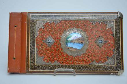 A cover with enamel and silver decoration, probably Iranian (38x21cm)