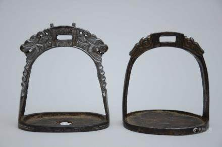 Two Asian bronze stirrups (14x16cm)