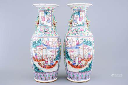 A pair of tall Chinese famille rose vases, 19th C.