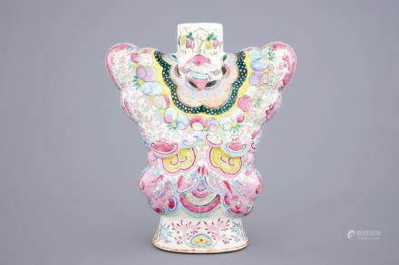 An exceptional famille rose butterfly-shaped vase, 19th C.