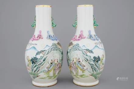 An unusual pair of Chinese famille rose landscape vases, early 20th C.