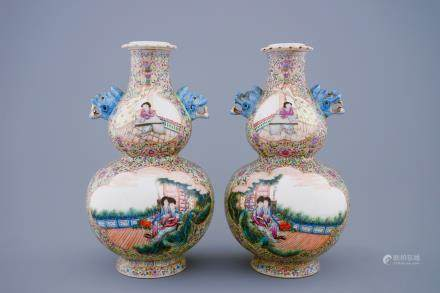 A pair of Chinese famille rose double gourd vases, Republic, 20th C.