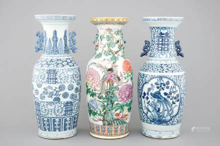 3 tall Chinese famille rose and blue & white vases, 19th C.