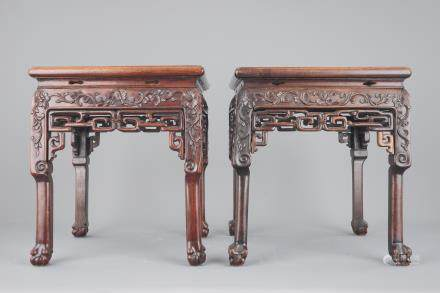 Two Chinese carved hongmu wood marble top vase stands, 19th C.