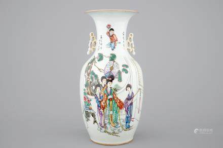 A Chinese famille rose vase with beauties in a garden, 19/20th C.
