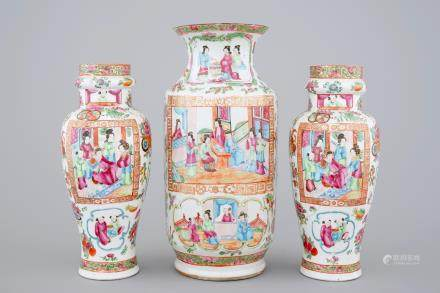 A large group of Canton rose medallion, 3 vases and 3 bowls, 19th C.