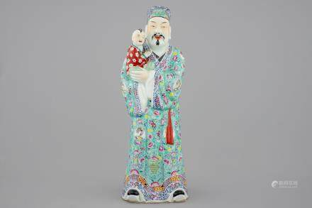 A large Chinese famille rose figure of an immortal, 19/20th C.