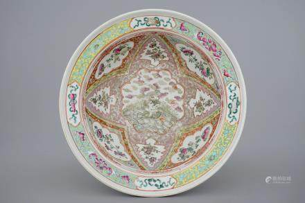 A deep Chinese famille rose Straits porcelain bowl, 19th C.