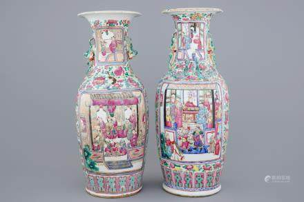 Two Chinese famille rose vases with court scenes, 19th C.
