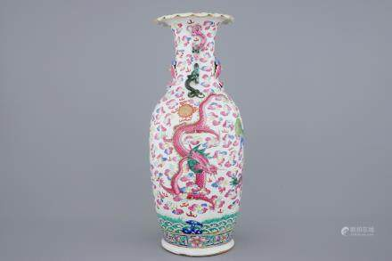A large Chinese famille rose vase with dragons and fo-dogs, 19th C.
