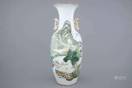 A Chinese famille rose landscape vase, 19/20th C.