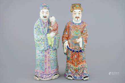 A set of 2 Chinese famille rose figures of immortals, 19th C.