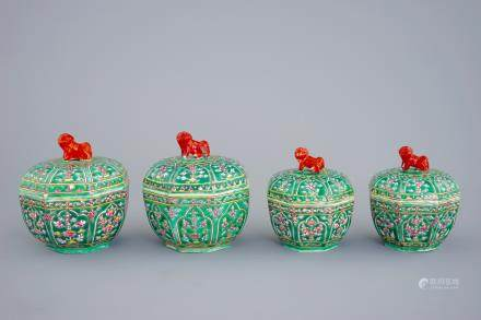 Four Chinese Bencharong porcelain thai market boxes and covers, 19th C.