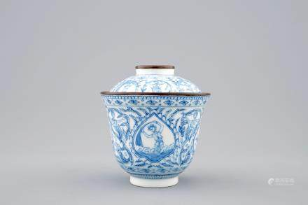 A Chinese blue and white covered Bencharong bowl for the Thai Market, 18/19th C.