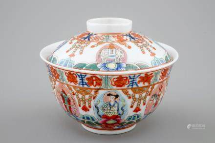A Chinese famille rose Bencharong covered bowl for the Thai market, 19/20th C.