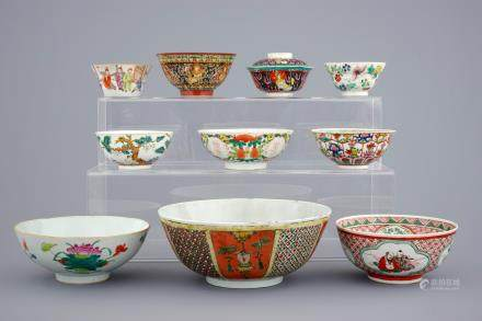 A collection of 10 various Chinese famille rose and Bencharong bowls, 19/20th C.
