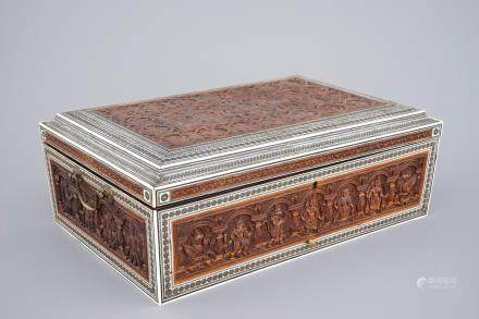 An Anglo-Indian carved wood and ivory work or writing box, Vizagapatam, 19th C.