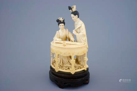A Chinese carved ivory group of musicians with a qin, 19th C.
