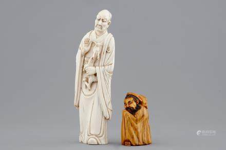 Two Chinese carved ivory figures, one of an immortal with a dragon, ca. 1900