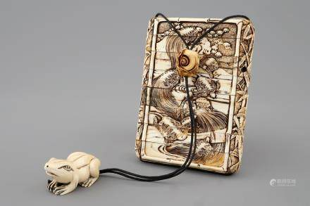 A Japanese ivory inro with netsuke, both signed, Meiji, 19th C.