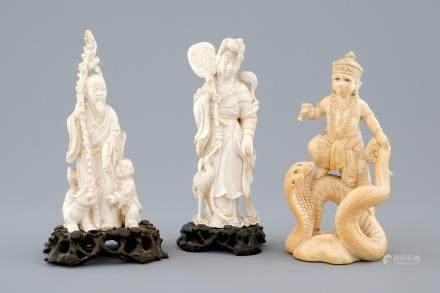 A set of 3 Chinese and Indian carved ivory figures, early 20th C.