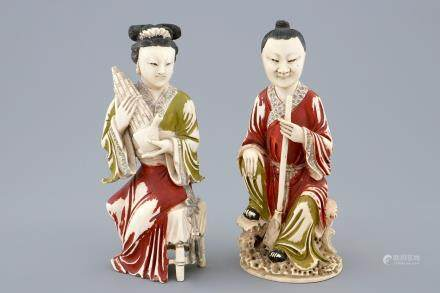 A pair of Chinese polychrome ivory figures of musicians, ca. 1900