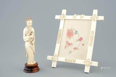 A Chinese Canton ivory frame and a carved figure of Guanyin, 19th C.
