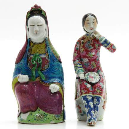Lot of 2 China Porcelain Sculptures