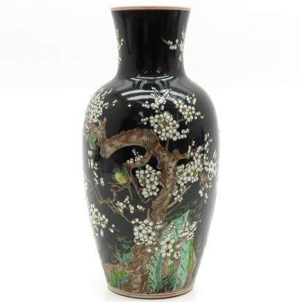 China Porcelain Famille Noir Decor Vase