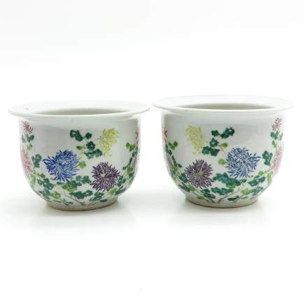 Pair of China Porcelain Cachet Pots