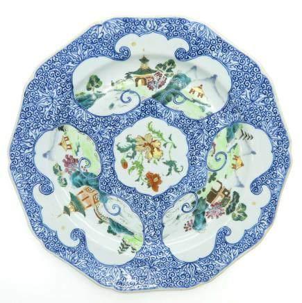 China Porcelain Plate in Famille Verte Decor
