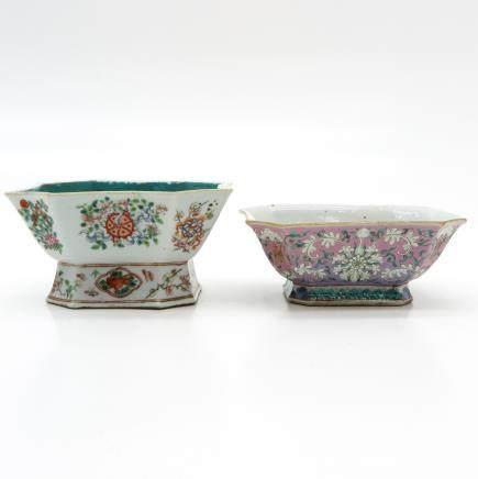 Lot of 2 China Porcelain Altar Plates