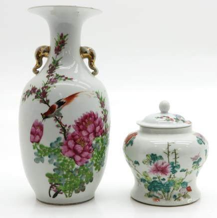 China Porcelain Vase and Lidded Jar