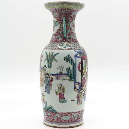China Porcelain Famille Rose Decor Vase