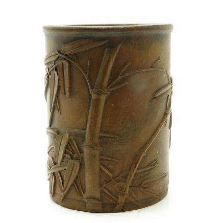 Carved Wood Chinese Brush Pot