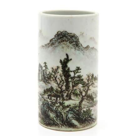 Signed China Porcelain Brush Pot