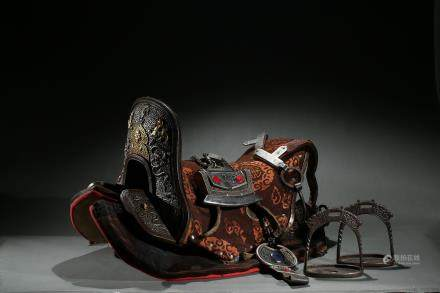 A gilt-silver alloy 'dragons' horse saddle