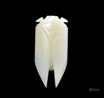 A white jade carving of cicada