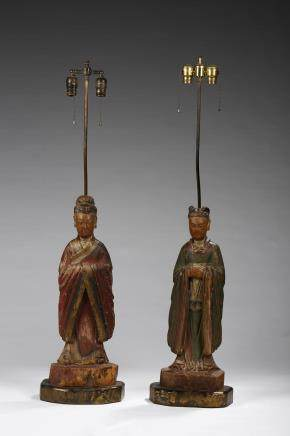 A pair of painted wood Taoist figures