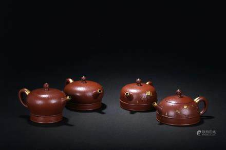 Zhou Guizhen: set of four zisha teapots